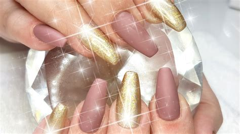 light brown nail acrylic nails matte brown holo light gold nail design