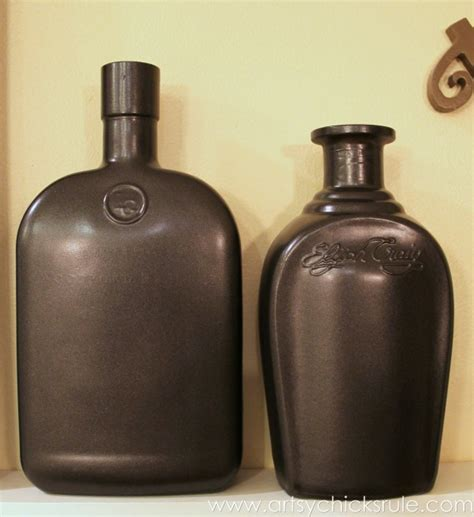 Spray Paint Glass Vases Easy Diy Chalk Painted Bottles W Oil Rubbed Bronze