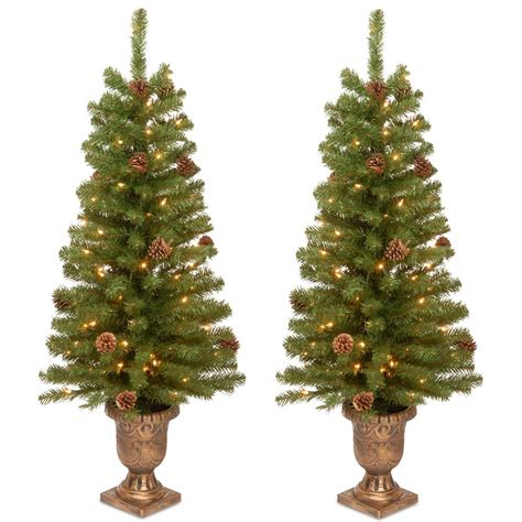 4 or 5 ftrustic christmas trees home accents 4 ft entrance tree with lights set of 2 hmc7 310 40 2 the home depot