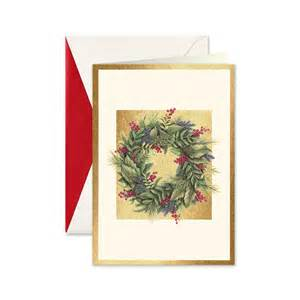 wreath on gold boxed greeting cards