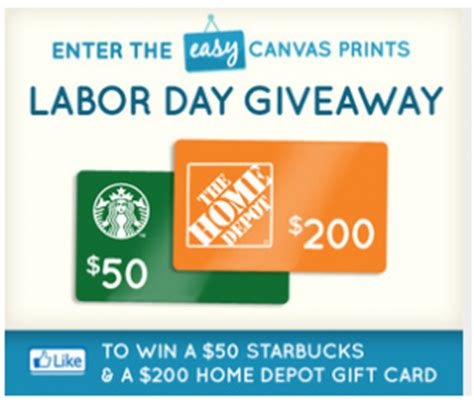 Home Depot Gift Card Promo Code - easy canvas prints labor day giveaway sweepstakes win a 50 starbucks gift card a