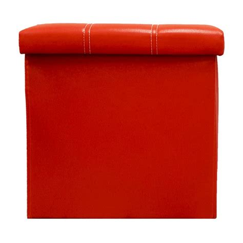 red storage ottoman cube pu folding storage ottoman cube space organizer stool