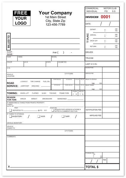 Tow Truck Receipt Template by Tow Service Invoice Form Towing Company