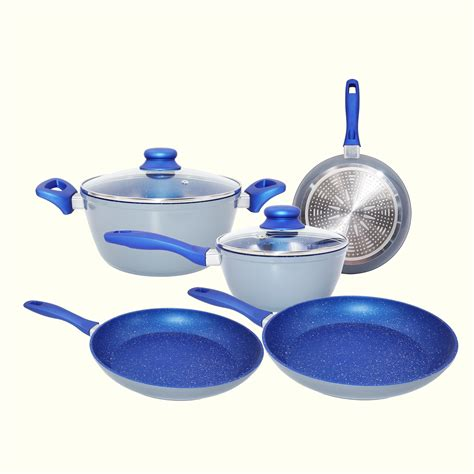 pots and pans cookware set 7 piece non stick blue marble ceramic forged