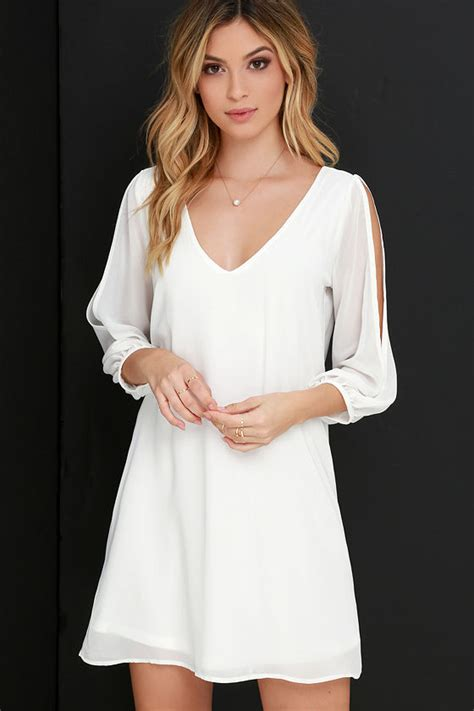 lulu s pretty ivory dress shift dress cold shoulder dress