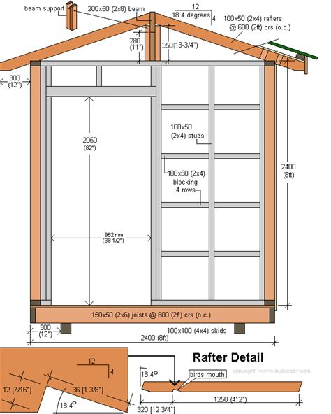 shed roof section storage shed plans page 5 cross section and rafter detail plan