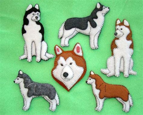 Handmade Felt Animals - siberian husky ornament husky refrigerator magnet