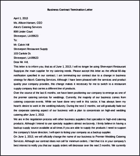 Contract Update Letter Free Business Contract Termination Letter Template Template Update234 Template