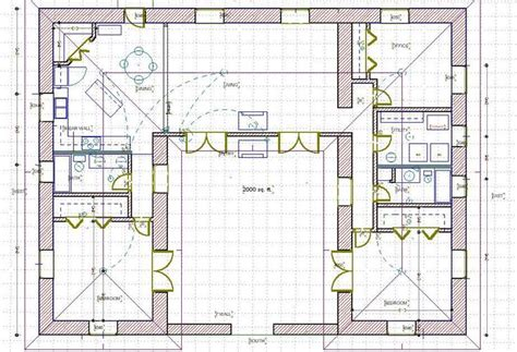straw bale house plans courtyard http www balewatch com paul alice html house plans atrium house pinterest