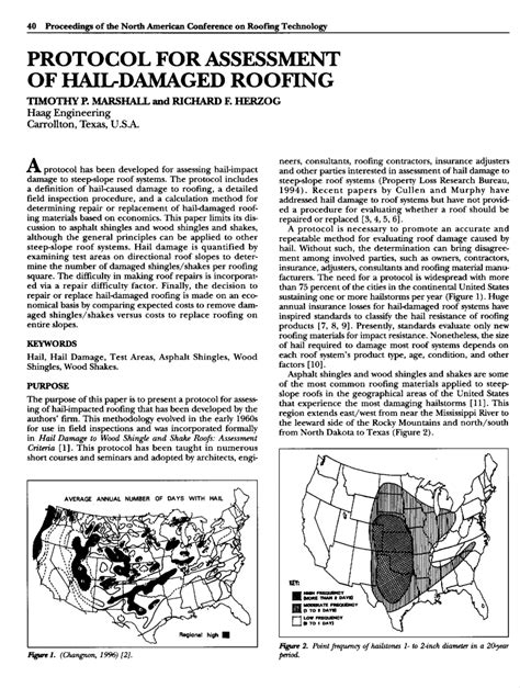 (PDF) Protocol for Assessment of Hail-Damaged Roofing