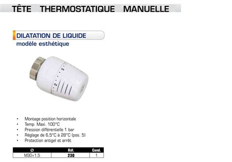 Comment Regler Robinet Thermostatique by Robinet Thermostatique Somatherm T 234 Te Corps Pour