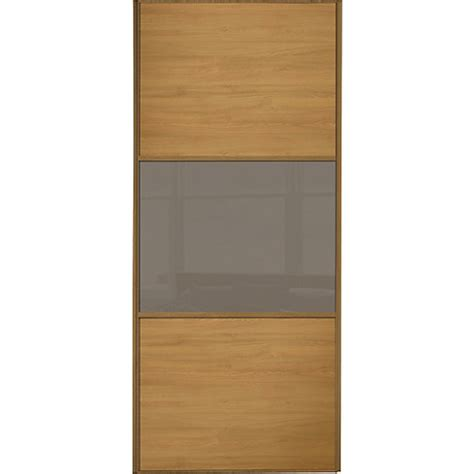 wickes wardrobe doors wickes sliding wardrobe door wideline oak panel cappuccino glass 2220 x 762mm wickes co uk