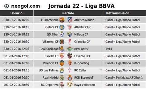 partidos jornada 22 liga espa 241 ola bbva 2016 liga