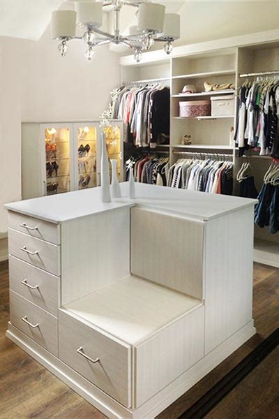 Garage Laundry Room Design closet ideas with lighted shoe case display and closet island