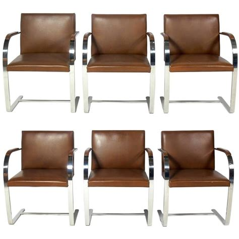 chrome leather dining chairs set of six knoll brno chrome and leather dining chairs at