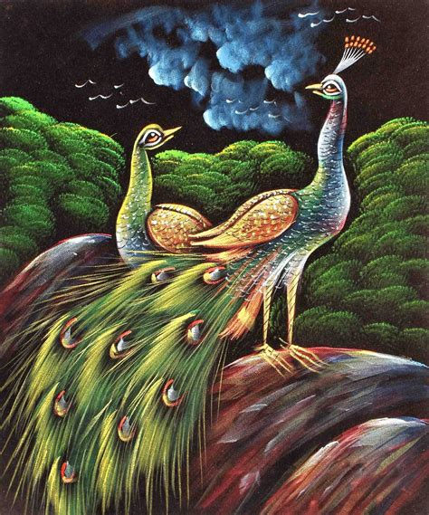 Home Interior Paintings by Flashing Painting Of Love Birds Peacock Amp Peahen In Silent