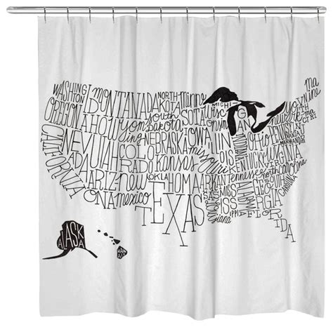 contemporary shower curtains lettered black and white us map shower curtain