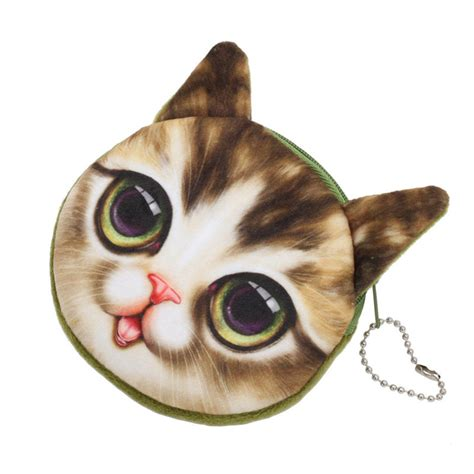 Cat Printed Coin Purse lovely 3d cat animal printed zipper card