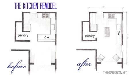 kitchen remodeling floor plans the kitchen floor plans before after bird s eye sketch the inspired room