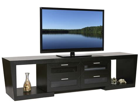 flat screen tv console rectangle black narrow short tv stand with square shelves