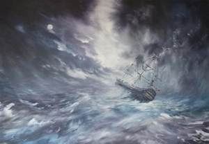 Next Duvet The Endeavour On Stormy Seas Painting By Jean Walker