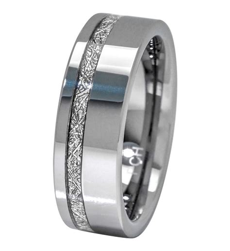 meteorite ring 8mm tungsten carbide comfort fit mens