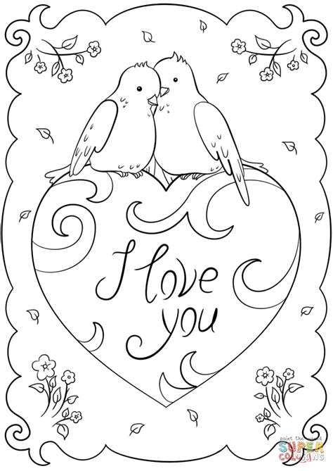 Card Coloring Pages by Quot I You Quot Card Coloring Page Free Printable Coloring