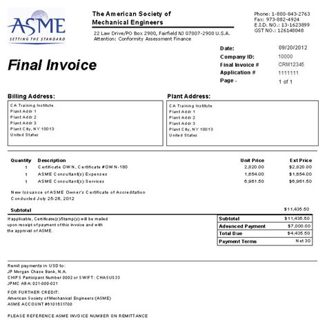 final invoice new and renewal application for non boiler