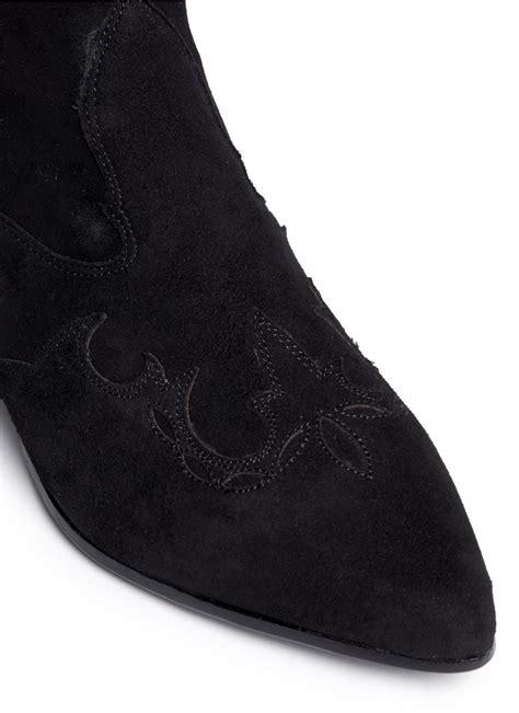 ash hello suede cowboy boots in black lyst