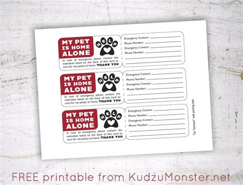 Home Alone Card Template by Free Printable Pet Emergency Contact Card Kudzu