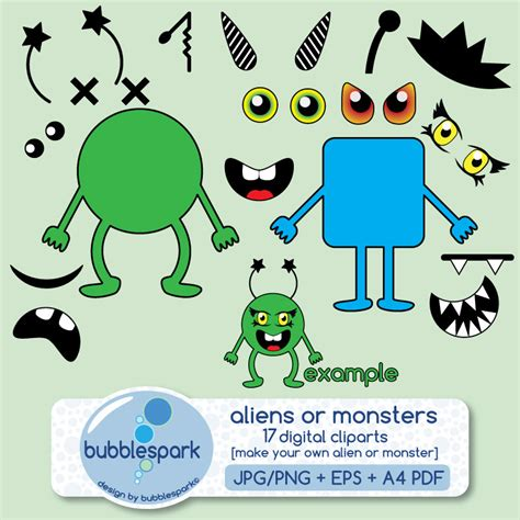Monster clipart monster body - Pencil and in color monster ... Free Digital Clip Art Maker
