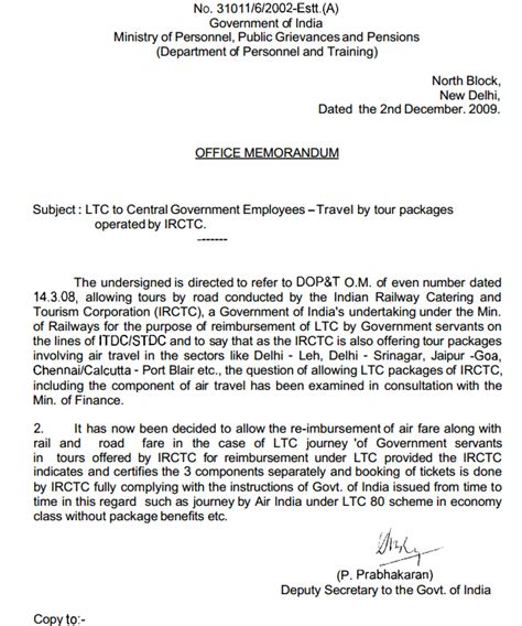 Offer Letter For Tour Packages Travel On Ltc Tour Packages Operated By Irctc Dopt Order 7th Pay Commission News Central