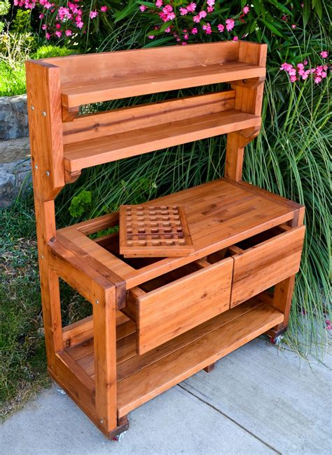 redwood potting bench custom outdoor wood bench