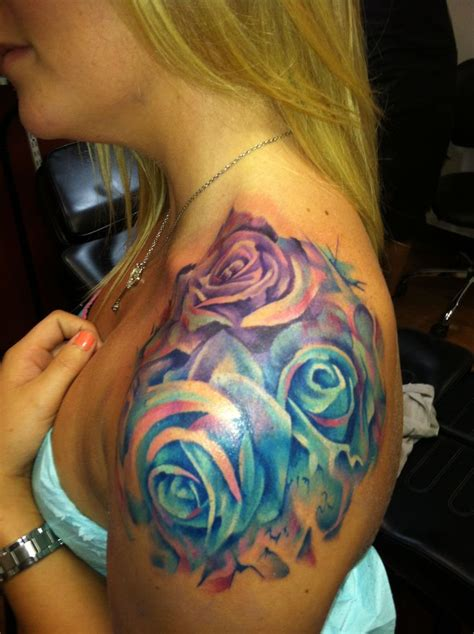 rose shoulder tattoo amazing watercolor exactly how i want mine