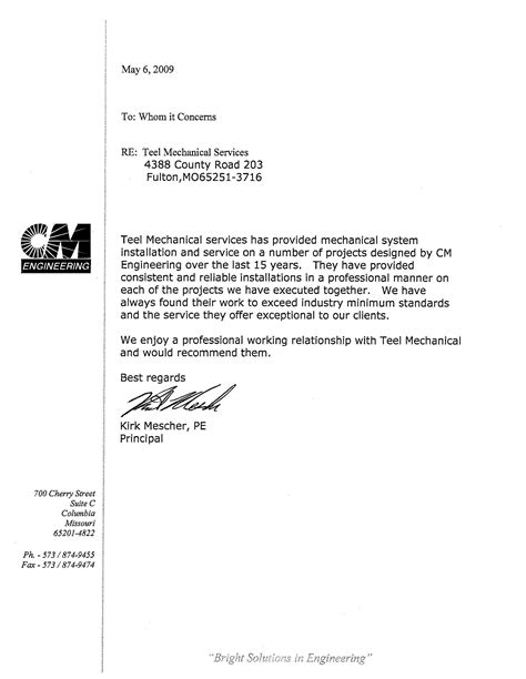 Recommendation Letter Format For Mechanical Engineer Teel Mechanical Testimonials