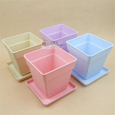 square flowerpot containing tray plastic resin