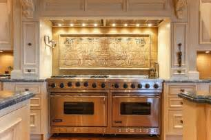 Kitchen Murals Backsplash this kitchen has a custom tile mural backsplash with decorative wood