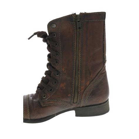 steve madden troopa brown lace up leather combat boots 6