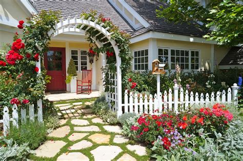cottage garden fencing white picket fences landscape contemporary with cottage