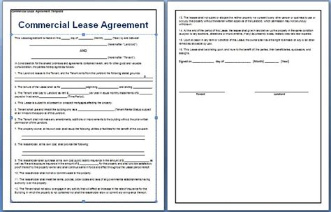 Business Rental Agreement Template commercial lease agreement template free free agreement