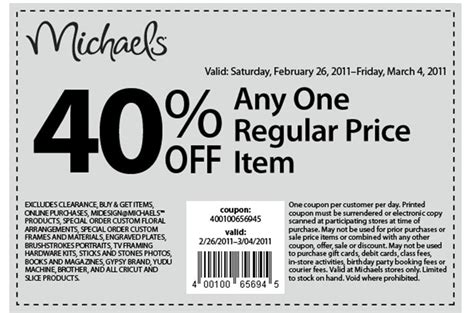 printable pers coupons canada michaels canada 40 off one regular priced item printable
