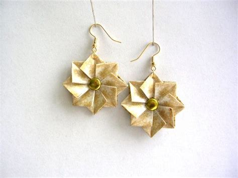 Origami Anniversary - origami earrings white gold paper jewelry paper