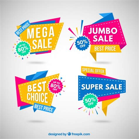 Origami Sale - colorful origami sale banner collection vector free