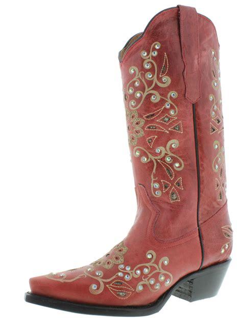rhinestone cowboy boots womens python inlay rhinestone western leather cowboy