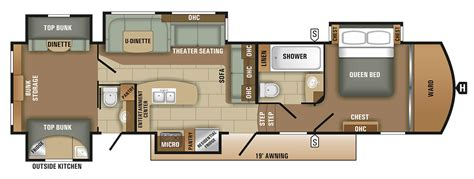 5th wheel floor plans fifth wheel floor plan 2018 solstice 368bhss starcraft rv