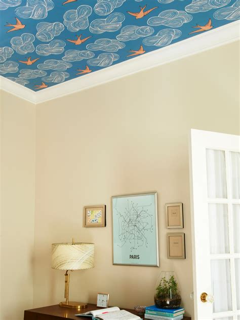 Wallpaper Ceiling Ideas by How To Wallpaper A Ceiling Home Remodeling Ideas For Basements Home Theaters More Hgtv