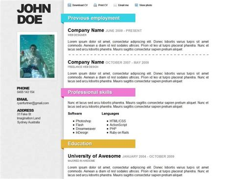0nline Resume by Top 40 Professional Cv Resume Templates