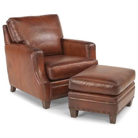 rustic leather chair and ottoman flexsteel latitudes maxfield rustic leather chair and