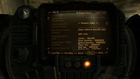 fallout 3 console cheats pip boy console codes at fallout3 nexus mods and community