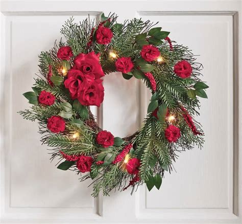 pre lit led 20 quot red rose floral christmas holiday or